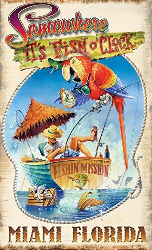 Northwest Art Mall jm-6522FOC Miami Florida Fisch O Uhr 27,9x 43,2cm Print von Künstler Jim MAZZOTTA