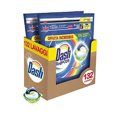 Dash Pods 3 in 1 Detersivo Lavatrice in Monodosi Salva Colore, Maxi Formato da 132 Capsule, 75 % di Plastica in Meno