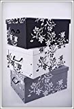 Set of 3 Storage boxes in 3 colours, White, Black and Grey) with 45 Litre Capacity-Floral Design in Baroque Style