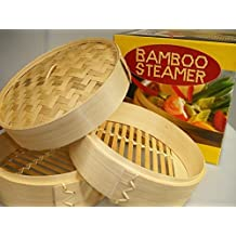 Jade Temple - Cesta para cocer al vapor (bambú, 3 partes)