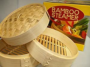 Bamboo Steamer Set 25 cm 3 Pieces by JADE TEMPLE