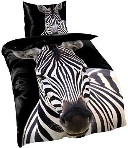 Leonado Vicenti Bettwäsche 135x200 4teilig Fleece Winter schwarz weiß Zebra Kuschel Flausch Set mit Reißverschluss