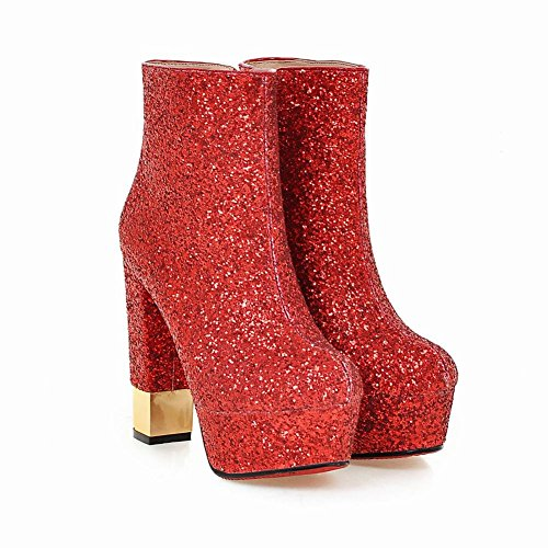 Mee Shoes Damen Pailleten Reißverschluss Plateau high heels Stiefel Rot