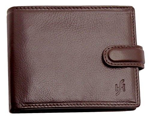StarHide® Männer, Herren Echt Pflanzlich Gegerbte Luxus Leder Brieftasche Geldbörse Für Banknoten, Kreditkarten Taschen, Münze & Foto ID Karte Taschen #1213 (Braun) (Tasche Patchwork Braun Echtes Leder)