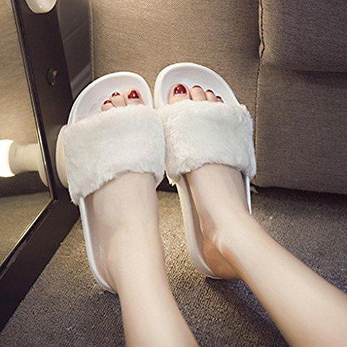 Amlaiworld Donna soffice pelliccia finta pantofola piatta,confortevole e morbido bianco
