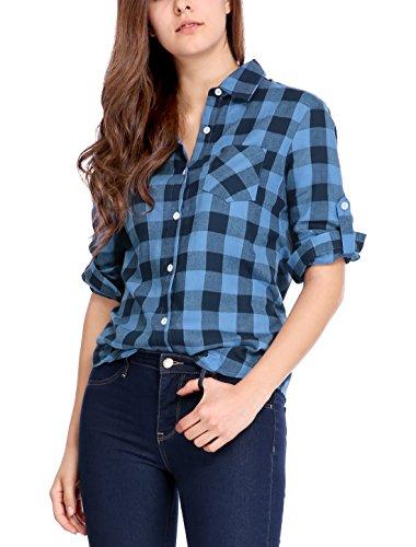 Allegra K Damen Knopf auf Langarm Bluse Kragen Tasche Plaid Shirt Baumwolle einreihig S (EU 36) (Plaid Sleeve Button)