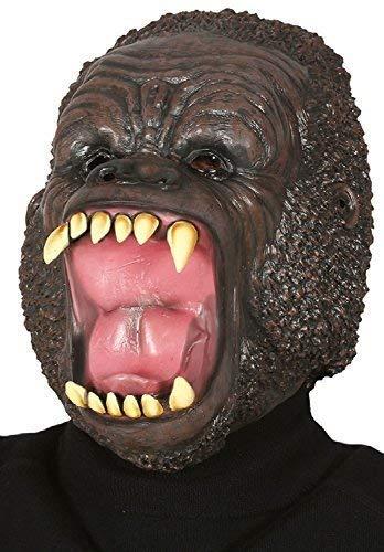 Fancy Me Erwachsene Wild AFFE Gorilla Latex Gesichtsmaske Tier Unheimlich Halloween Kostüm Kleid Outfit (Wild Gorilla Kostüm)