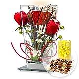 Glas-Spiegel-Windlicht mit roter Blumen-Deko und LED und Belgische Pralinen