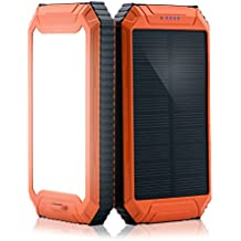 powergreen Cargador Solar con Linterna 32LED 10000mAh Solar Power Bank Batería externa USB Dual para tablet iphone, ipad, HTC Nexus cámara, Orange-10000mAh