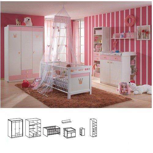 Wimex Babyzimmer 304955 Cindy, Weiß, Abs. Rosé 2tlg