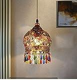 Ali personnalité créative seule tête lustre lampe en cristal de Bohême blanc cru country américain fer forgé lustre Café...