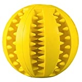 Rubber Dog Toy Chew Toy Treat Ball Pet Dog Rubber Ball Pet Snack Ball Pet Toy Balls for Pet Training Playing Chewing Toy- 2.75 Inch (Yellow)