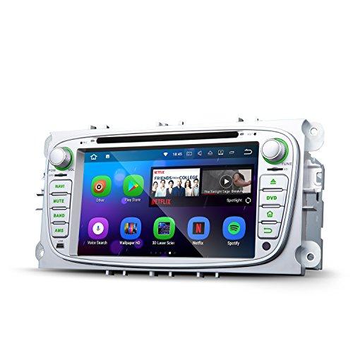 Eonon Ga8161Android 7.12Go de RAM stéréo de voiture DVD GPS Navigation GPS pour Ford Mondeo Focus S-Max lecteur CD DVD de voiture Écran tactile Autoradio support Bluetooth DAB + WiFi Sortie AV Caisson de basses Cam-in Argent