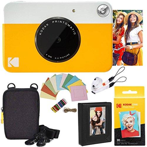 Kodak pacchetto deluxe per fotocamera istantanea printomatic (gialla) + carta zink (20 fogli) + custodia deluxe + album fotografico + cornici appendibili + comoda tracolla