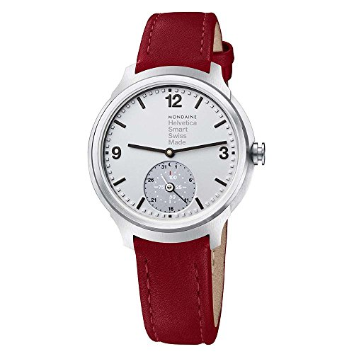 Mondaine Mens Quartz Smart Watch With Silver Dial Analogue Display And Red Leather Strap MH1B2S80LC