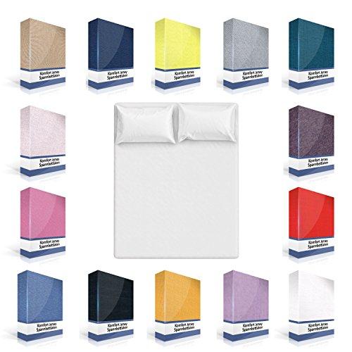 Spannbettlaken | Bettlaken Spannbetttuch Betttuch 90x200 140x200 160x200 180x200 in verschiedenen Farben aus 100% Baumwolle (140-150 x 200cm, Weiß)