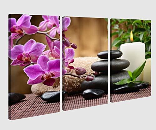 Leinwandbild 3 tlg Bild Wellness Steine Blumen lila Orchidee Kerzen Bilder Leinwand Leinwandbilder Holz Wandbild mehrteilig 9AB093, 3 tlg BxH:90x60cm (3Stk 30x 60cm)