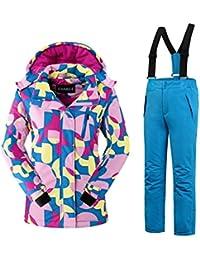 Mädchen Kinder Skianzug Skijacke Skihose Regenlatzhose Verdickung Lang Jacket Wintermantel Mantel Mantel