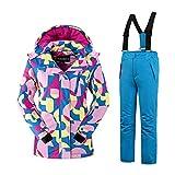 Mädchen Kinder Skianzug Skijacke Skihose Regenlatzhose Verdickung Lang Jacket Wintermantel Mantel Mantel (blau, 158/164)