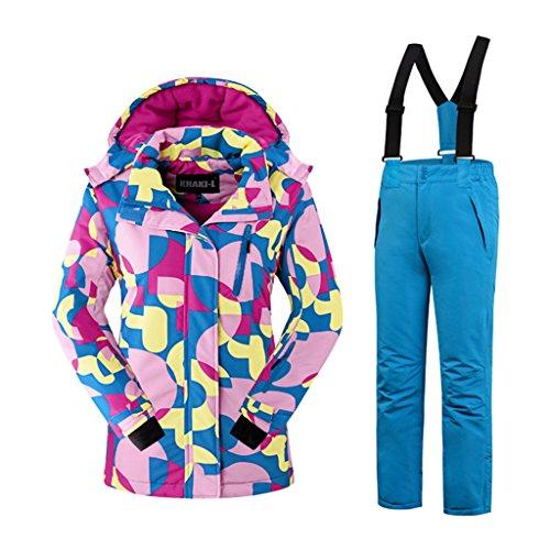 Mädchen Kinder Skianzug Skijacke Skihose Regenlatzhose Verdickung Lang Jacket Wintermantel Mantel Mantel (blau, 146/152)