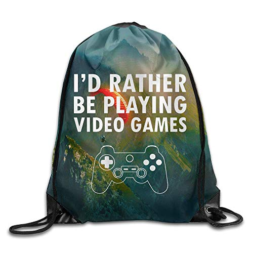 I'd Rather Be Playing Video Games Drawstring Storage Bag Sackpack Backpack for Men & Women School Travel Backpack