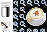 Fancy Coffee Draghe con 16PCS stencil polvere shaker caffè cacao Cinnamon shaker maglia fine Duster, con 16pz cappuccino caffè latte Art stencil modello muffa