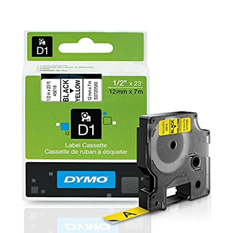 D1 Standard Tape Cartridge for Dymo Label Makers, 1/2in x 23ft, Black on Yellow