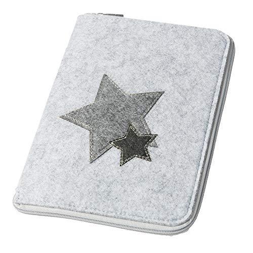 Mom's Organizer 'Sterne' mit Reißverschluss für Mutterpass & U-Heft hellgrau, Farbe wählbar) | Filz Hülle in A5 als Uheft- und Mutterpasshülle