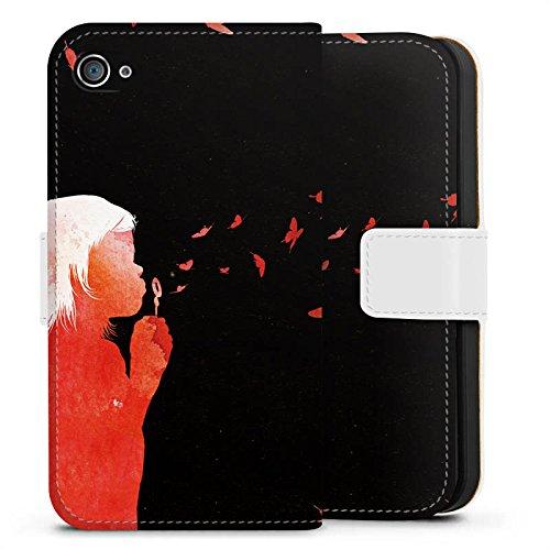 Apple iPhone X Silikon Hülle Case Schutzhülle Schmetterlinge Art Mädchen Sideflip Tasche weiß