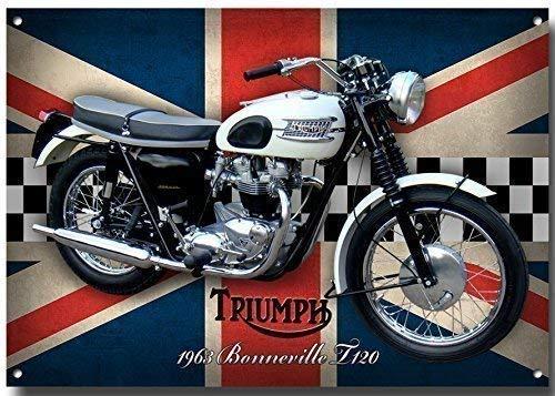 Triumph Bonneville T120 Moto letrero metal con enamelled acabado - 285 mm x 410 mm x 1 mm