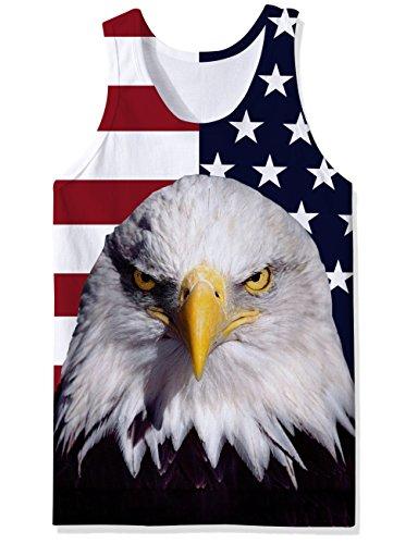 Chicolife 3D Flag Eagle Print Lustige Muster Realistische Underwaist Gym Tanktops für Herren Groß (Ärmelloses Eagle)