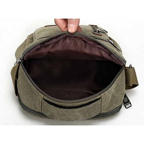 MeCooler Herren Umhängetasche Retro Canvas Messenger Schultaschen Vintage Taschen für die Schule Sporttasche Reisetaschen Weekender Reisetasche Kleine Strandtasche Lässige Schultertasche Bag Grün