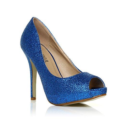 c319e6fcf59509 Chaussures Décolleté Bleu Pailleté Tia Avec Talon Aiguille Très Haut Ouvert  Et Plateforme À Paillettes Bleues ...