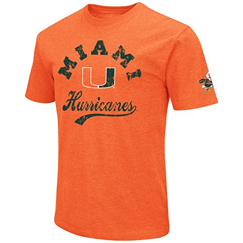 NCAA Colosseum Herren Vintage Dual-Blend T-Shirt mit 2 Logos, Herren, Miami Hurricanes-Orange, Large