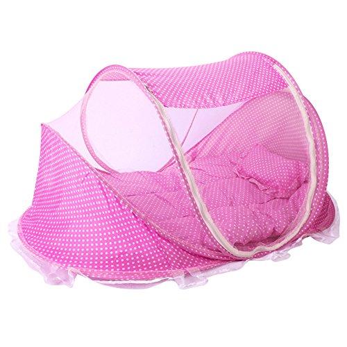 L Y Baby-Reise-Bett, Baby-Bett-Tragbare Faltende Baby-Krippen-Moskito-Netz-Tragbare Baby-Feld-Neugeborene Faltbare Krippe Dreiteilig,Pink