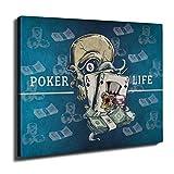 Wellcoda Schädel Poker Karte Kasino Wand Kunst Leinwand 50cm x 30cm