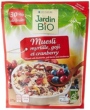 Jardin Bio Muesli Myrtilles Goji/Cranberries 30% de Fruits Biologique 375 g - Lot de 3