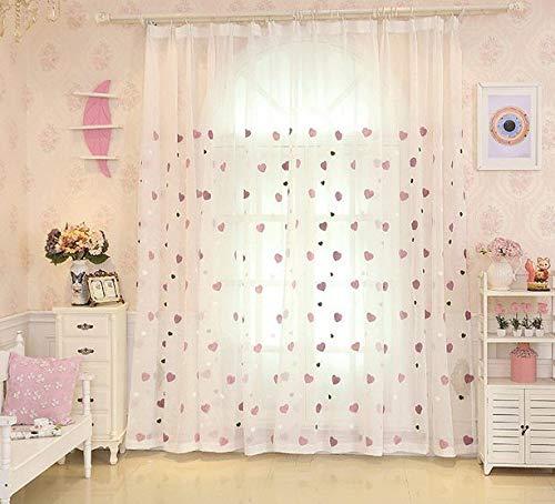 Lactraum Vorhang Kinderzimmer Mädchen Transparent Weiß mit Ösen Bestickt Herz Voile 145 x 245cm