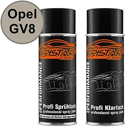 TRISTARcolor Autolack Spraydosen Set für Opel GV8 Sand Beige Perl Metallic Basislack Klarlack Sprühdose 400ml