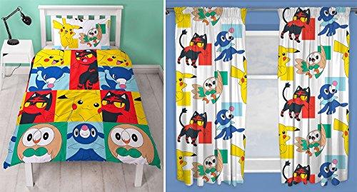 Pokemon Newbie Bettbezug Bettwäsche-Set mit 54-Armaturenbrett-Vorhänge