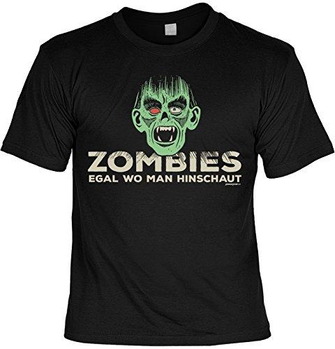 Halloween T-Shirt - coole Sprüche / Motive - Kostüm Halloweenparty : Zombies egal wo man hinschaut -- Halloweenshirt Spruch Monster Zombie Gr: ()