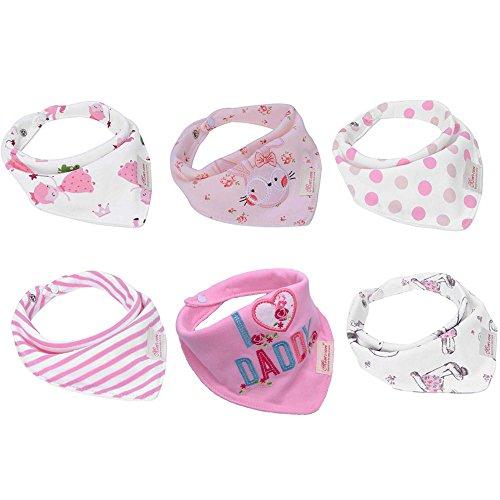 Baby Dreieckstuch Lätzchen 6er Pack Halstuch Spucktuch Lätzchen mit Druckknopf für Baby Jungen und Mädchen Kleinkinder Saugfähig Weich Größenverstellbar