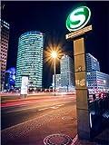 Poster 90 x 120 cm: Berlin - Potsdamer Platz bei Nacht von