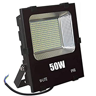 W-LITE Upgraded 50W LED Floodlight Outdoor Lighting IP66 Waterproof External Security Spot Lights for Garden Yard Exterior Piazza 4500LM Soft Daylight White 400W Equivalent AC86-265V
