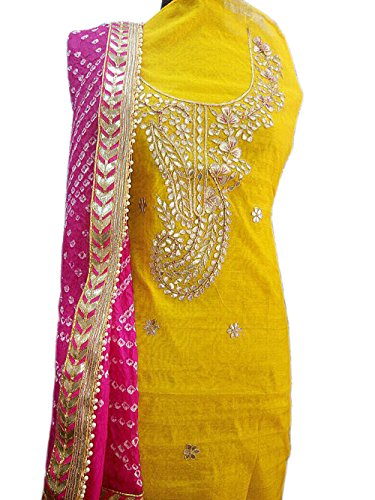 K.K.Sales Women's Chanderi Cotton Dress Material With Dupatta ,Without Bottom (Jbl-470_Yellow &...
