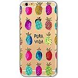 KSHOP Coque iphone 7 Plus (5.5) Ultra Mince Crystal Transparent TPU en Souple Silicone Anti-Rayures Modifs Peints - Ananas coloré Pineapple