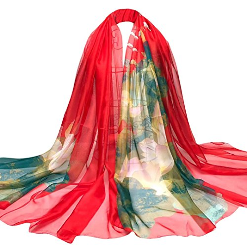 OverDose Damen Schal, Fashion Lady Lotus Blumen Lange Wrap Frauen Schal Chiffon Schal Seide Schals Halstuch Tücher (Top Spitzen-wrap-t-shirt)