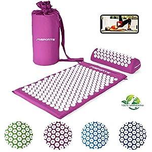 Akupressurmatte Premium, Akupressur Set – inkl. Akupressurmatte, Kissen, Tasche & Workout App, Bezug aus 100% Baumwolle, Lösung von Verspannungen I Massagematte