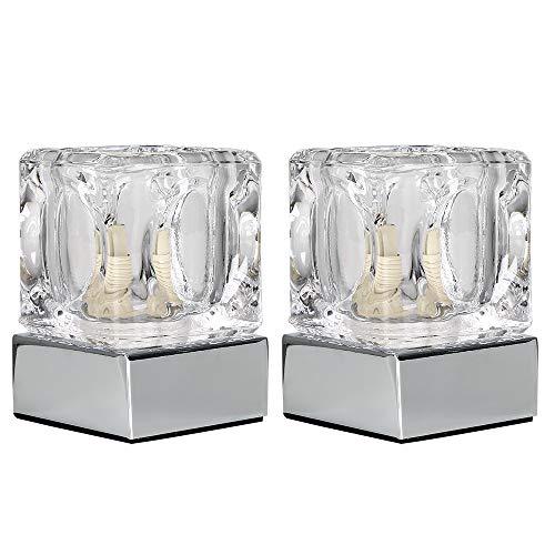 MiniSun - 2er Set Moderne und Touch-Me Tischlampen mit Chrom-Finish und schönem Klarglasschirm in Eiswürfelform - Touch-Me Tischleuchten - Moderne Chrom-finish