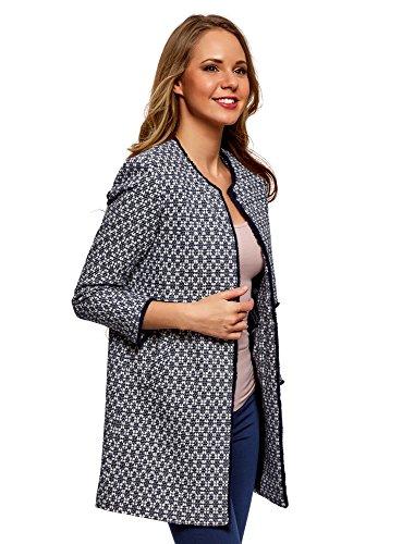 oodji Ultra Damen Mantel aus Jacquard mit Häkchen, Blau, DE 32 / EU 34 / XXS